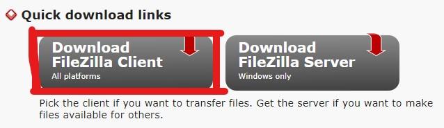 FileZillaのダウンロードボタン